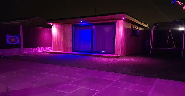 Philips Hue colour changing downlights on summerhouse